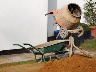 Wheelbarrow and mobile cement mixer