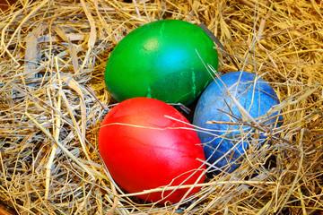 Easter eggs in hay