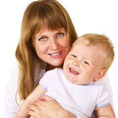 closeup portrait of happy mother with her litle son over white