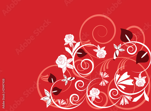 Vector background illustration with plants and flowers in red