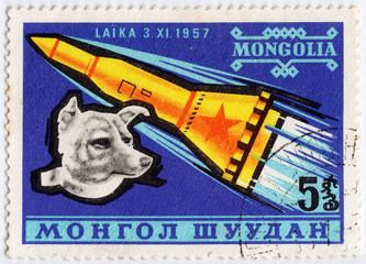 stamp printed in Mongolia shows Laika