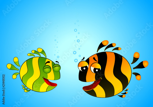 colorful tropical fish in love for the day of Valentine