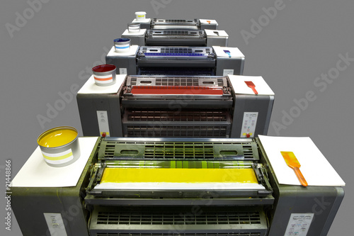 Five colour printing press