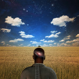 Man with galaxy in head poster
