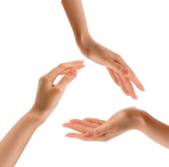 Three hands sign. Circle made of hands