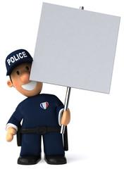 Police et panneau blanc