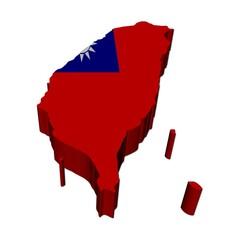 Taiwan map flag 3d render on white illustration
