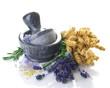 Herbal Medicine concept.Mortar and Herbs