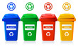 Big containers for recycling waste sorting isolated