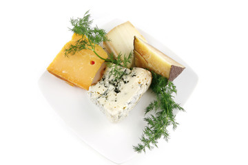 aged cheeses on white