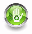''Give a helping hand to environment'' glossy icon