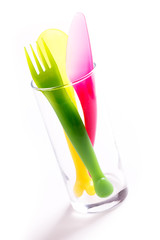 colorful plastic cutlery