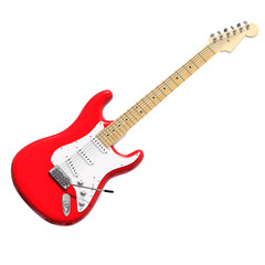 Red electric guitar 3D