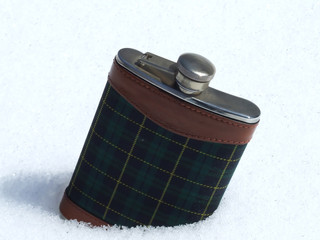flask in snow