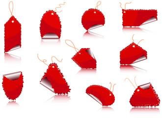 Set of red sticker - vector illustration