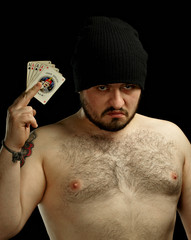 Mobster with cards
