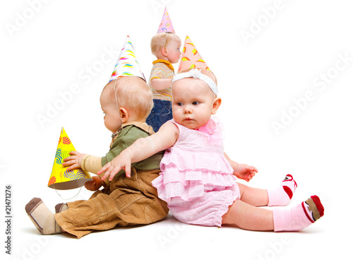 Kids in party hats