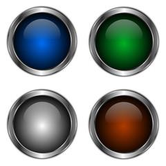 icones boutons colorés fond blanc