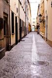 Narrow, wet cobbled street
