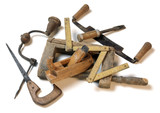 Carpenter tools isolated on white background