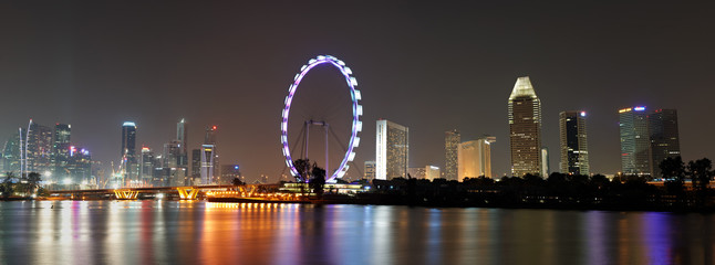 Singapore panorama at night  with wheel
