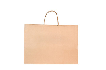 Shopping bag made from brown recycled paper.
