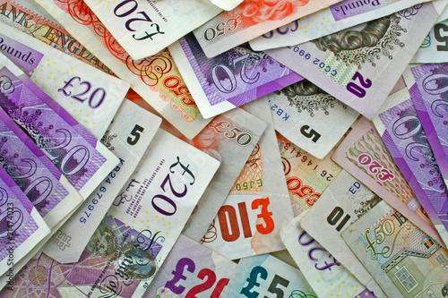 Leinwanddruck Bild pile sterling notes