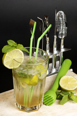 Mojito, ingredients and cocktail set