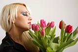 beautiful young woman with tulips (closed eyes)