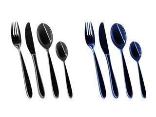 Besteck in schwarz und blau