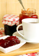 strawberry jam and cup of tea