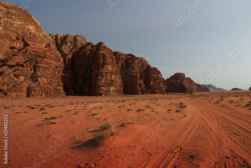 desert and mountain landscape at sunset