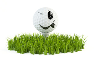 Smile golfball on grass