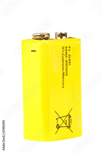 a yellow battery