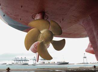 Close up of a ship propeller