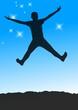 springendes Kind vor Sternenhimmel