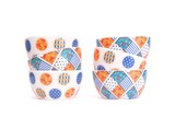 Two zigzag stacks of porcelain bowls isolated poster