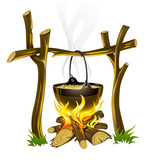 day touristic campfire and kettle with food