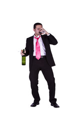 Drunk Businessman Holding a Wine Bottle