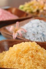 Bath salt in wooden bowls