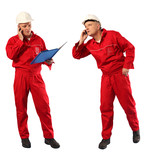 inspector in red uniform and white hardhat at work poster