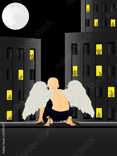 Shackled angel vector