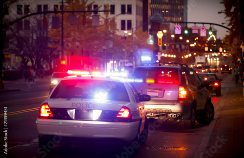 Leinwanddruck Bild Pulled over by police car