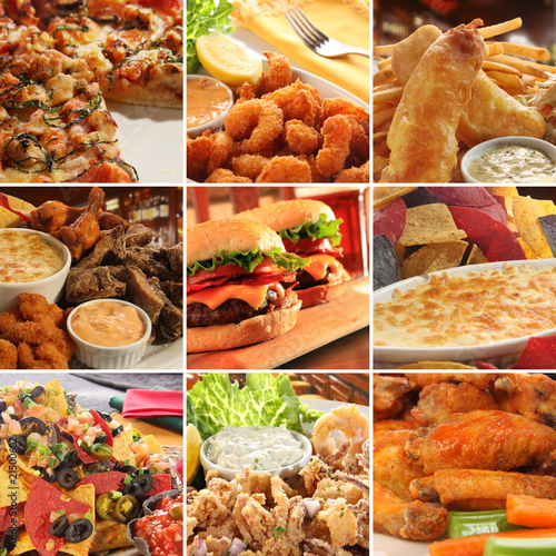 Collage of pub food.