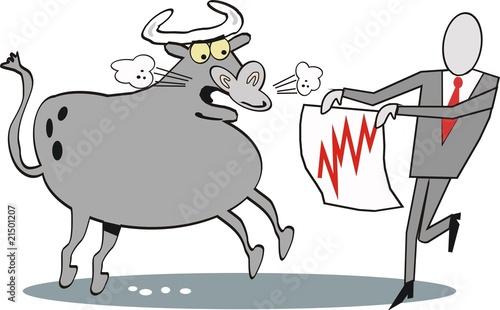 Stock market bull cartoon