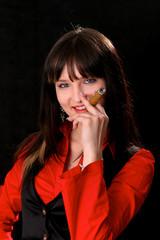 Sexy Mädchen mit Zigarre