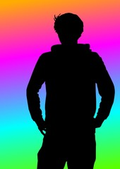 Mann mit Regenbogen