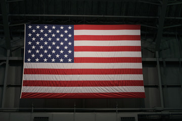 Large American flag in Warehouse