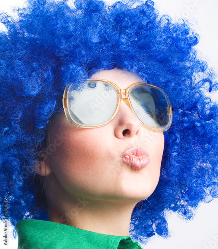 happy woman in blue wig in Sunglasses