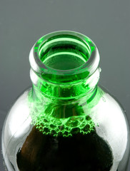 open green beer bottle close-up